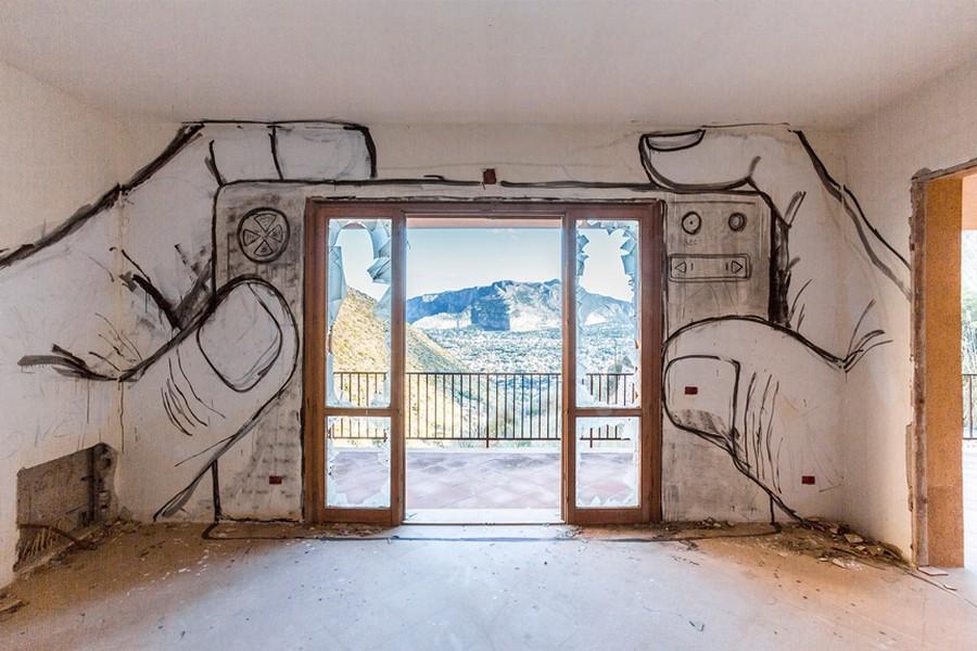 Ночи, рисунки на стене дома прикольные
