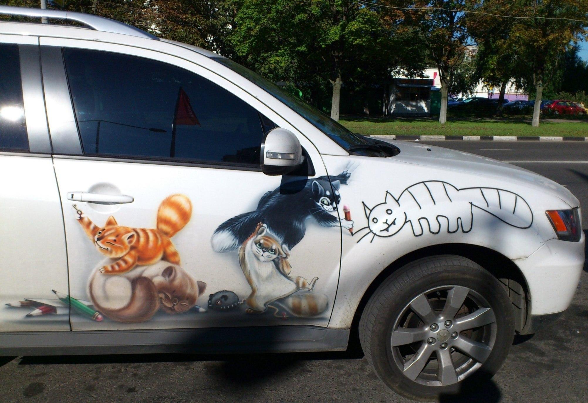 Прикольные рисунки у машин