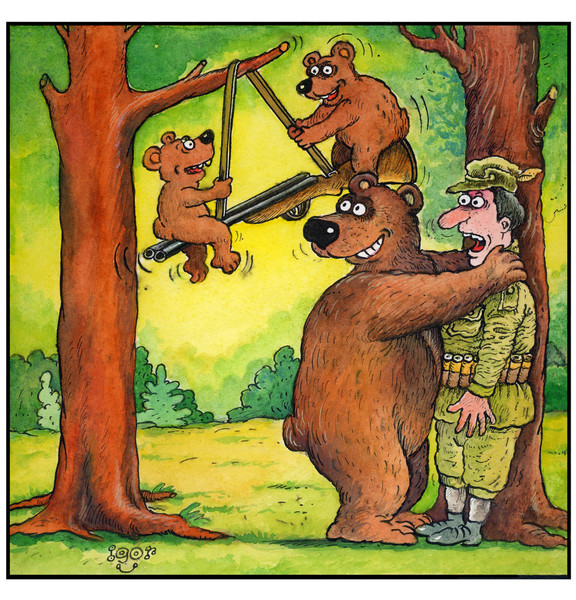 Рисунок, картинка про медведя и охотника
