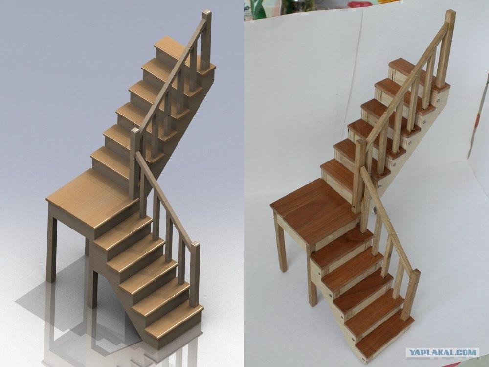 Как сделать для кукол лестницу из картона 4