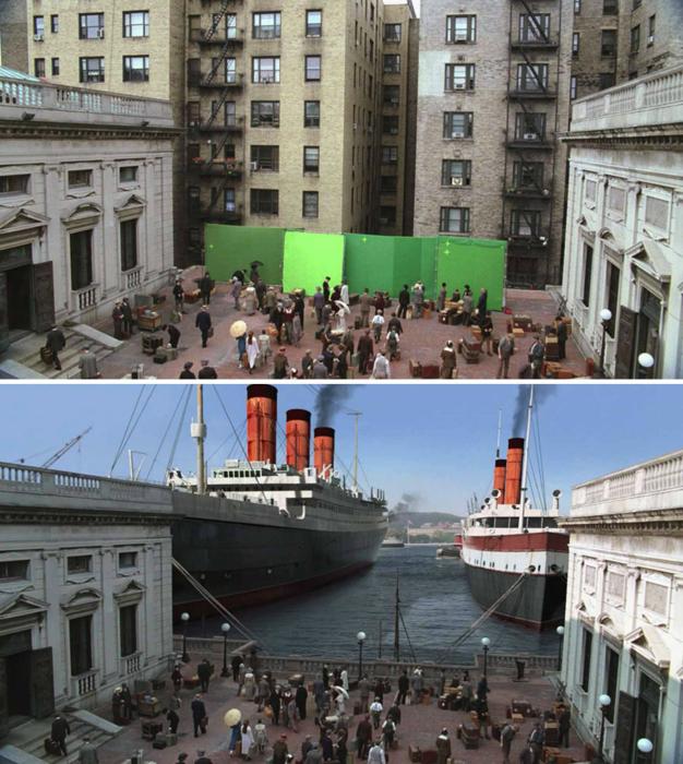 17 занимательных снимков, демонстрирующих сцены из известных фильмов до и после применения спецэффектов