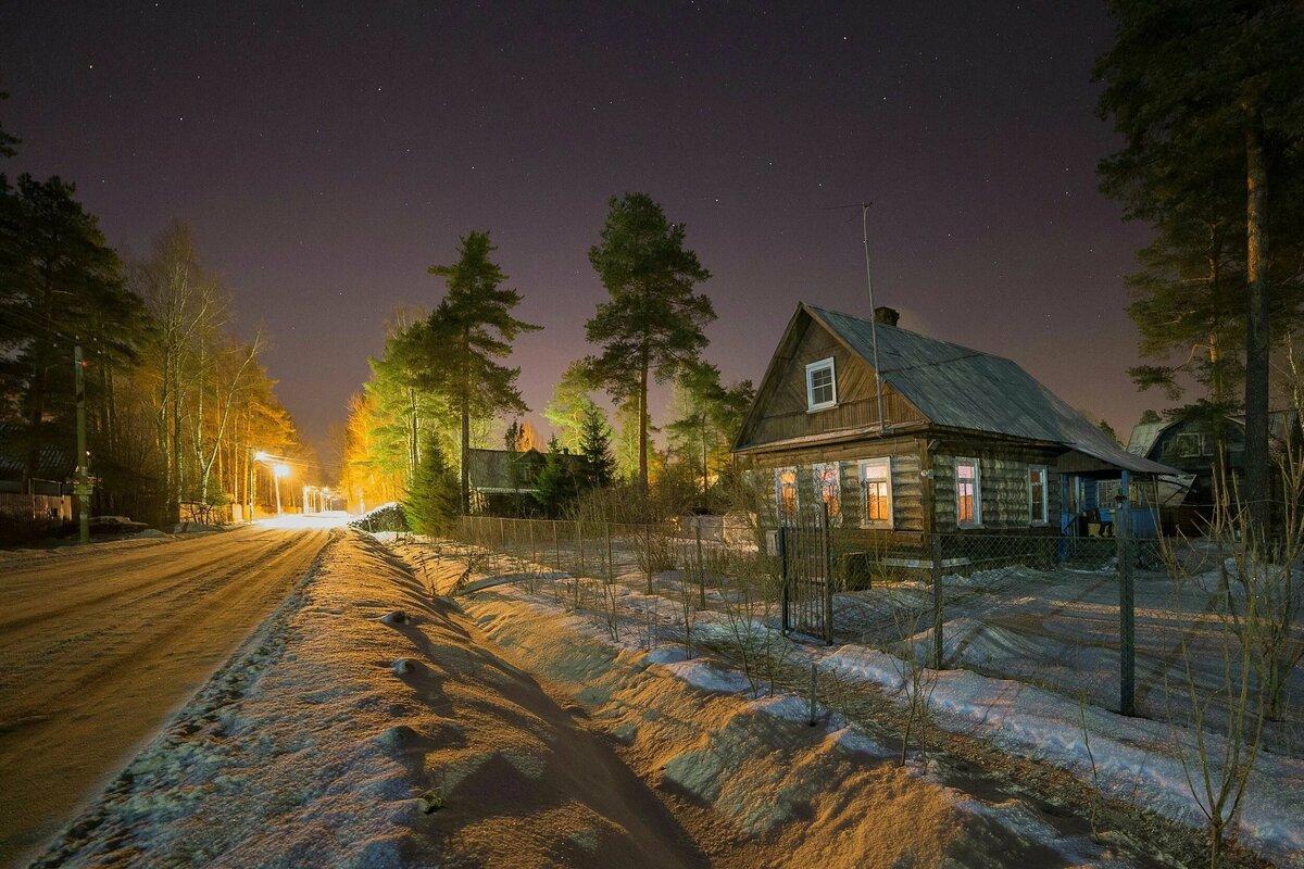 Улица ночная в деревне картинки