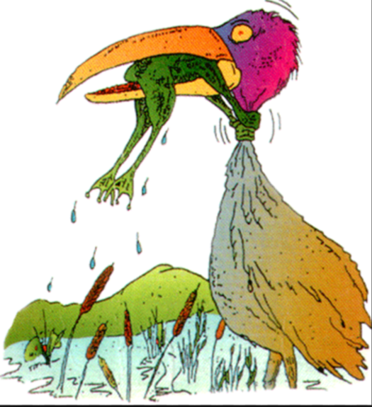 Картинка про цаплю и лягушку никогда не сдавайся