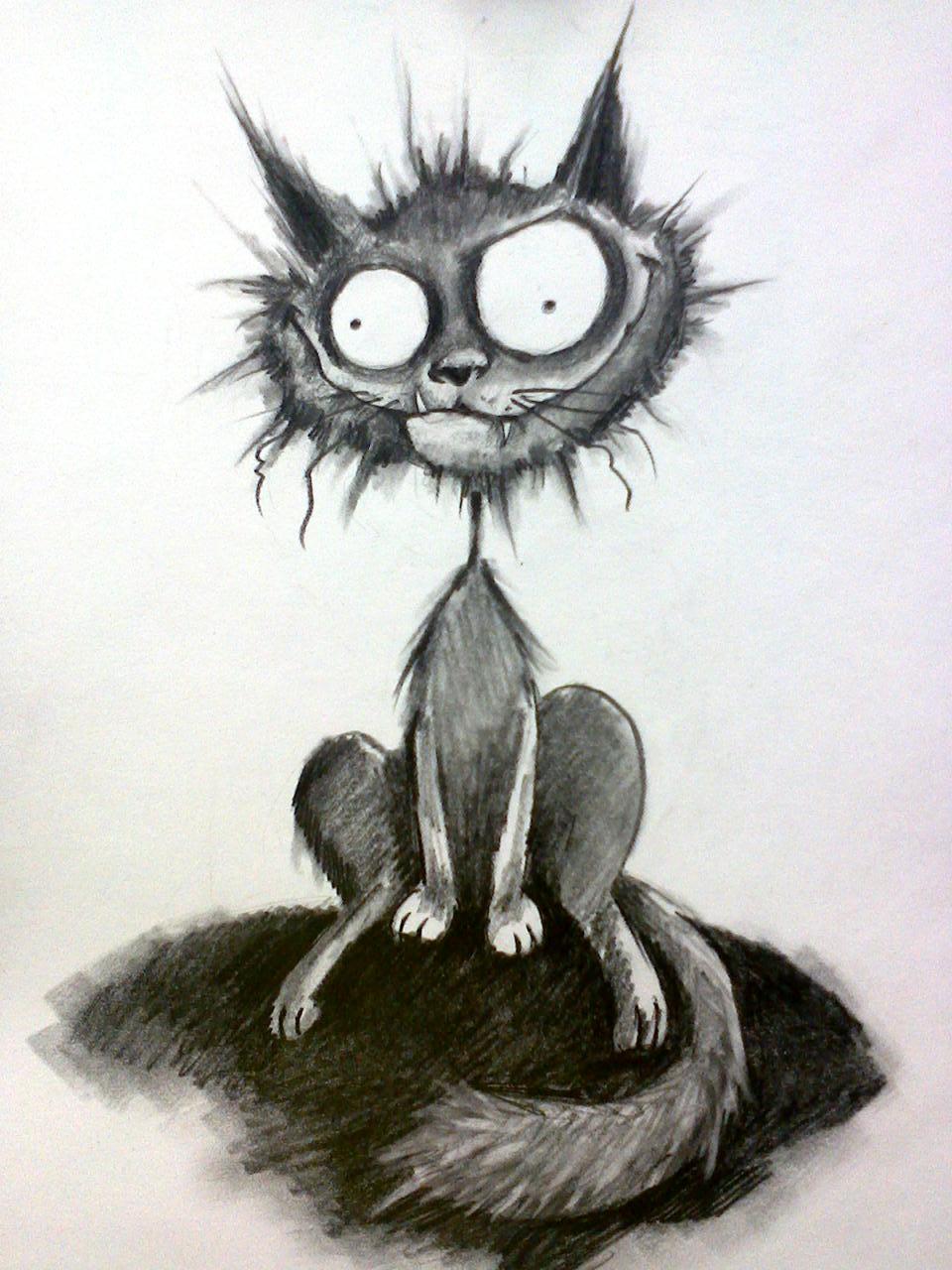 Котики карандашом смешные, открытка тебя люблю