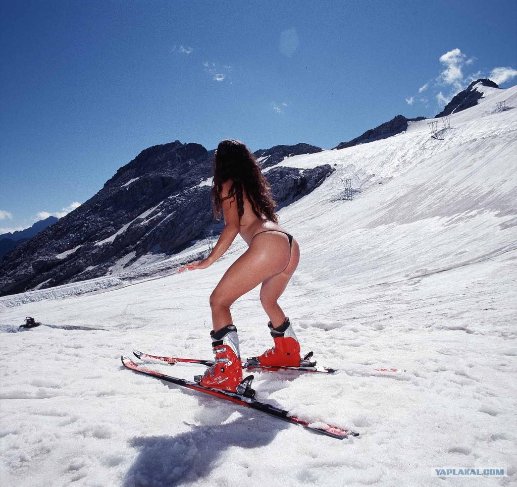 Naked skiing scene