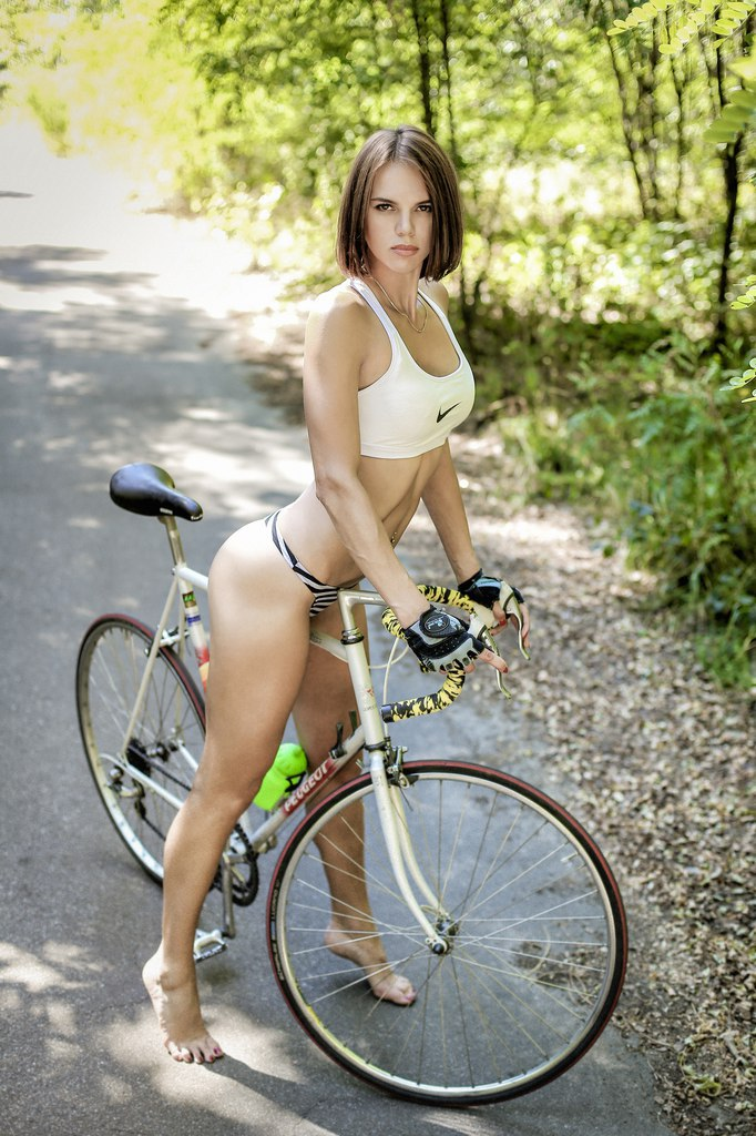 Topless Bike Ride With Busty Beauty