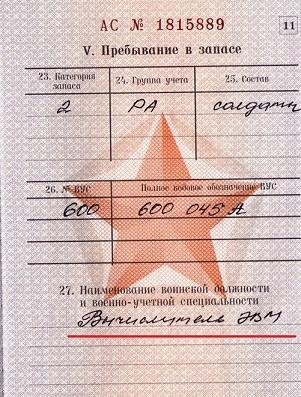 Запись в военном билете награжден нагрудным знаком