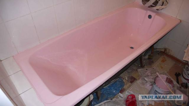 Реставрация ванны и раковины наливным акрилом.