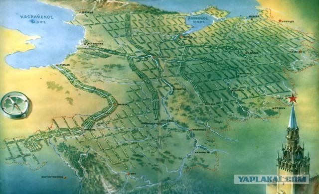 Государственная защитная лесополоса протяжённостью более 700 километров.