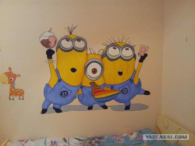 Смешные рисунки на стенах своими руками