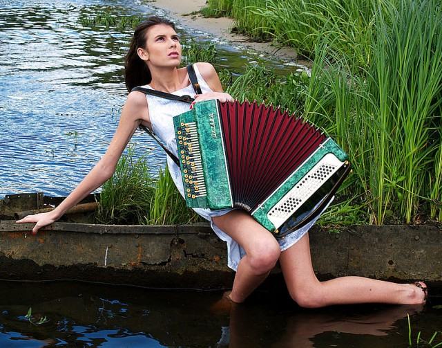 Woman Playing Accordion Images, Stock Photos Vectors