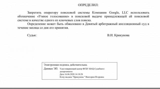 Арбитражный суд Москвы запретил Google показывать в поисковой выдаче словосочетание «Умное голосование»